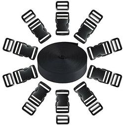 1-Inch Plastic Buckle with 10 Pack Side Release and 11 yards