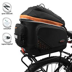 Ibera 2 in 1 PakRak Commuter Bicycle Trunk Bag with Expandab