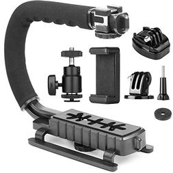 ChromLives Camera Stabilizer Handle Grip 4-in-1 Camcorder Ac