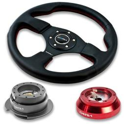 """NRG Innovations 12.5"""" 320mm Black Leather Red Stitch Button"""