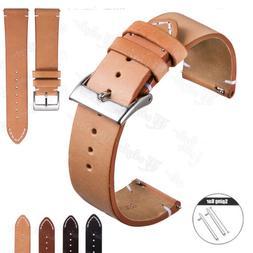18 20 22mm Genuine Leather Wrist Watch Band Strap Quick Rele