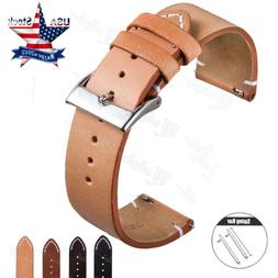18 20 22mm Quick Release Genuine Leather Wristwatch Band Str