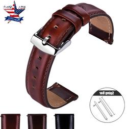 18 20 22mm Quick Release Genuine Leather Watch Band Wrist Me