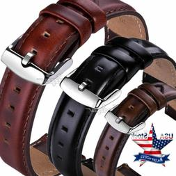 18 20 22mm Quick Release Genuine Leather Wristwatch Bands Wr
