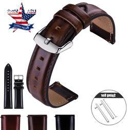 18 20 22mm Quick Release Leather Watch Band Wrist Strap Seko