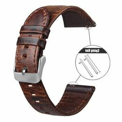 18 20 22mm Quick Release Pin Retro Leather Watch Band Replac