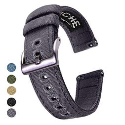 18mm Canvas Quick Release Watch Band Grey Replacement Watch