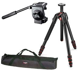 Manfrotto 190 Go! Aluminum 4 Section Tripod Kit with 128RC M