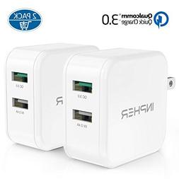 2 Quick Charge USB Wall Charger, Inpher 30W Fast Charger 3.0