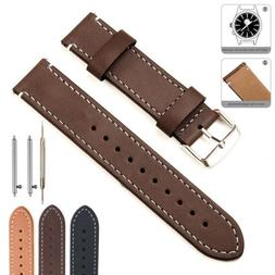 20/22mm Quick Release Retro Genuine Leather Watch Band Wrist