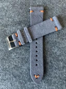 21mm Quick Release GRAY Vintage Suede Leather Watch Strap Ba