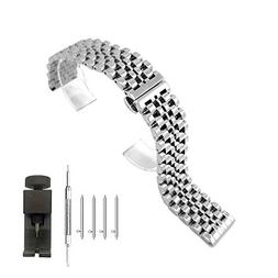 Quick Release Watch Band Stainless Steel Straps 20mm Push Bu