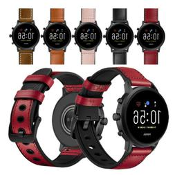 22mm Quick Release Leather and Rubber Hybrid Watch Band Stra