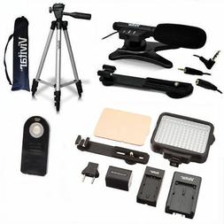 """50"""" TRIPOD + MICROPHONE +120 LED HD LIGHT FOR CANON EOS REBE"""