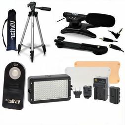"""50"""" TRIPOD + MICROPHONE +160 LED HD LIGHT FOR CANON EOS REBE"""