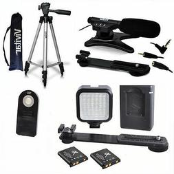 """50"""" TRIPOD + MICROPHONE + LED LIGHT SYSTEM FOR CANON EOS REB"""