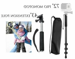 """72"""" Monopod with Quick Release + 43"""" Extension Pole for GoPr"""