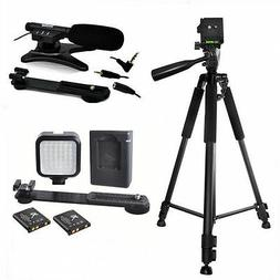 """72"""" TRIPOD + 36LED LIGHT + MICROPHONE FOR CANON EOS REBEL T3"""