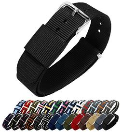 BARTON Watch Bands - Choice of Color, Length & Width  - Blac