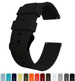 Barton Silicone - Black Buckle - 16mm, 18mm, 20mm, 22mm or 2