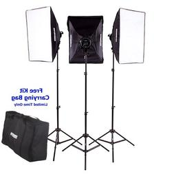 "Fovitec  StudioPRO - 3x 24""x36"" Softbox Lighting Kit w/ 6400"