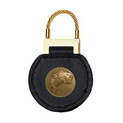 Indiana Metal Craft Black Leather Cable Key Tag Bass Brass E