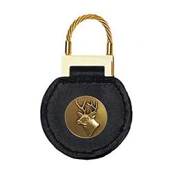Indiana Metal Craft Black Leather Cable Key Tag Buck Brass E