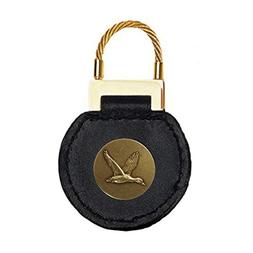 Indiana Metal Craft Black Leather Cable Key Tag Duck Brass E