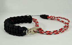 Paracord Camera Wrist Strap - Black-red-white - Adjustable w
