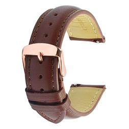 Quick Release Leather Watch Band 20mm Brown Replacement Watc