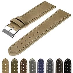 StrapsCo Quick Release Vintage Top Grain Leather Watch Band