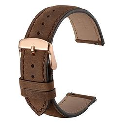 WOCCI 20mm Suede Vintage Leather Watch Band with Rose Gold B