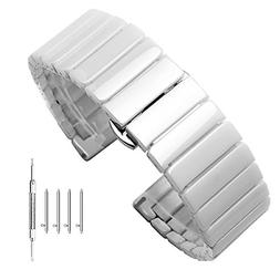 White Ceramic Watch Band 20mm Bamboo Pattern Quick Release B