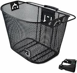Biria bicycle Basket with Bracket Black Front Quick Release
