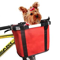 ANZOME Bike Basket, Folding Small Pet Cat Dog Carrier Front