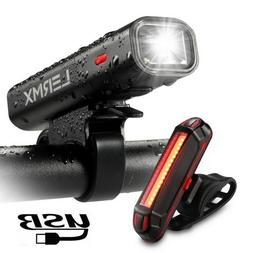 Bike Headlight with , LERMX USB Rechargeable Bike Lights Set