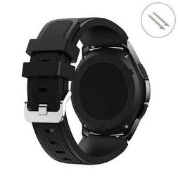 Black 22 mm Rubber Silicone Replacement Watch Band Strap Qui