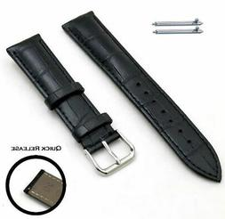 Black Croco Quick Release Leather Replacement Watch Band Str