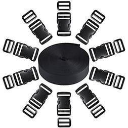 11 Yards Black Nylon Webbing Strap WIth 10 Pack Side Release