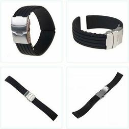 Black Silicone Rubber Watch Quick Release Strap Waterproof w