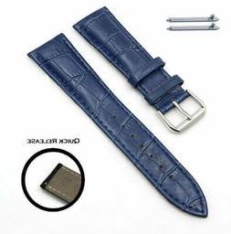 Blue Croco Quick Release Leather Replacement Watch Band Stra