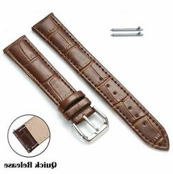 Brown Croco Quick Release Leather Replacement Watch Band Str
