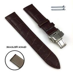 Brown Croco Quick Release Leather Watch Band Strap Butterfly