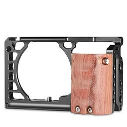 SMALLRIG Camera A6500 Cage Kit with Wooden Handle Hand Grip