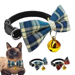 Cat Collar Bow Tie Safety Quick Release Accessories Bell Pup