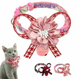 Cat Collar With Bell Quick Release Safety Cute Flower Neckla