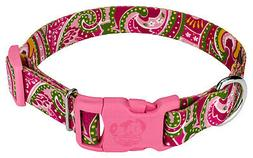 Country Brook Design® Pink Paisley Patterned Dog Collar wit