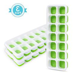 Adoric Life 3 Pack Easy Release Silicone Ice Cube Trays with