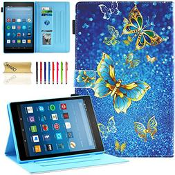 Dteck All-New Fire HD 10 Case - Slim Fit PU Leather Multi-An
