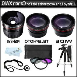 Fisheye Lens Kit For Canon XA10 HD Professional Camcorder In